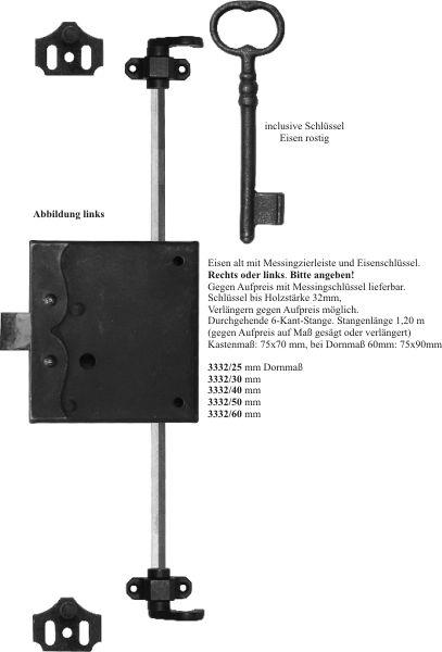 Drehstangenschloss für Kleiderschrank antik, Eisen gerostet und gewachst, mit Stange, Zubehör und Schlüssel komplett, Dorn 25mm links, Drehstangenschlösser Bild 3