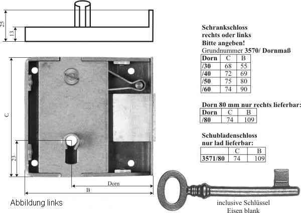 Kastenschloss schwer, mit nostalgischem Schlüssel, Eisen blank, Dorn 40mm links. Sehr stabile, hochqualitative Ausführung Bild 3