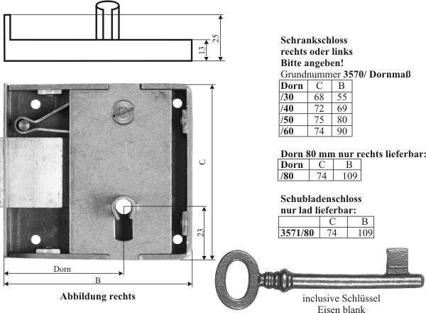 Kastenschloss schwer, mit antikem Schlüssel, Eisen blank, Dorn 30mm rechts. Sehr stabile, hochqualitative Ausführung Bild 3