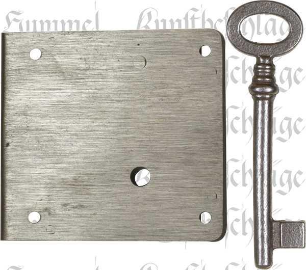 Kastenschloss schwer, mit nostalgischem Schlüssel, Eisen blank, Dorn 40mm links. Sehr stabile, hochqualitative Ausführung