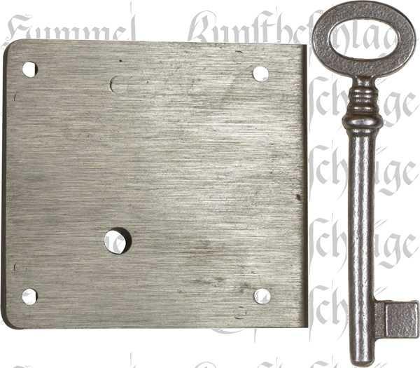 Kastenschloss schwer, mit antikem Schlüssel, Eisen blank, Dorn 30mm rechts. Sehr stabile, hochqualitative Ausführung