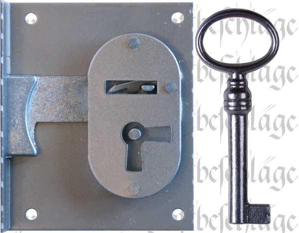 Einlaßschloß Historie, Eisen blank, mit Schlüssel, Dorn 40mm rechts