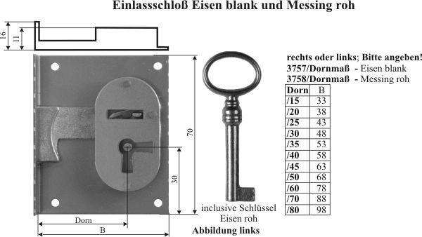 Einlaßschloß Historie, Eisen blank, mit Schlüssel, Dorn 40mm rechts Bild 3