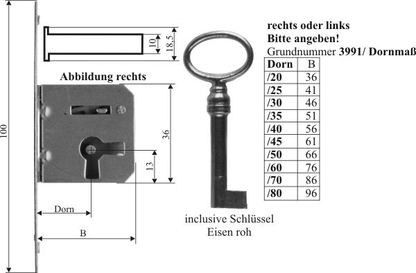 Einsteckschloss mit Schl/üssel 60mm links