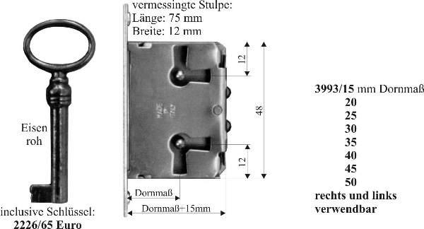 einsteckschlo mit historischem schl ssel dorn 45mm rechts und links verwendbar f r m bel. Black Bedroom Furniture Sets. Home Design Ideas