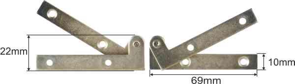 Zapfenband gekröpft, Eisen hellvermessingt, für eine linke Türe komplett Bild 3