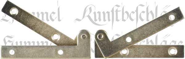 Zapfenband gekröpft, Eisen hellvermessingt, für eine linke Türe komplett