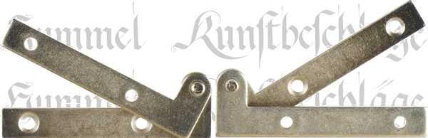 Zapfenband gekröpft aus Eisen hellvermessingt, für eine rechte Türe komplett