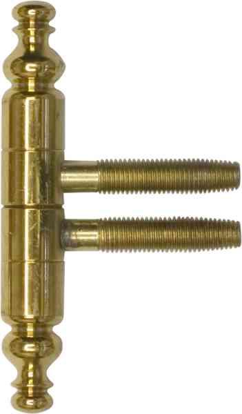 Einbohrband rustikal mit Zierkopf, Messing poliert lackiert, für Möbel und Fenster, Anuba Bänder, Ø 16x105 mm