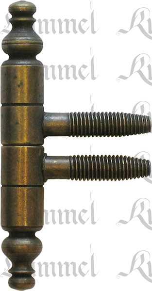 Einbohrband für Möbel mit Zierkopf, Ø 11x78 mm, Eisen altvermessingt, Einbohrbänder, Anuba Bänder
