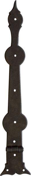 Truhenband antik, Stil Möbelband, Truhenscharnier. Aus Blech gestanzt und geprägt, in Eisen gerostet und gewachst