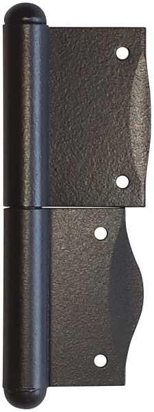 Fischband für Fenster, Fensterfitsche, links in Eisen verzinkt und matt schwarz lackiert