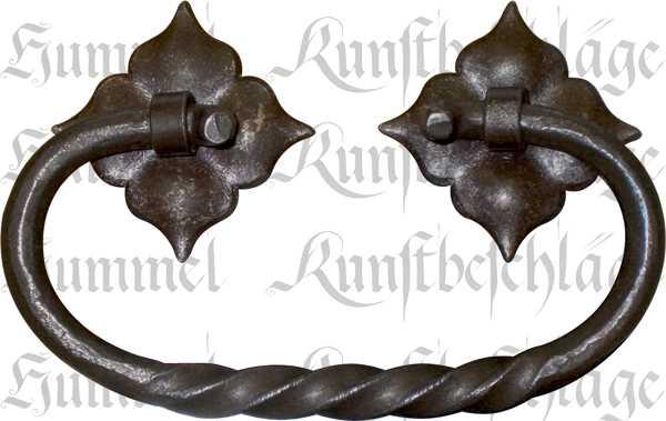 Truhengriff, mittelalterlich, Eisen gerostet und gewachst, Mittelalter Beschläge