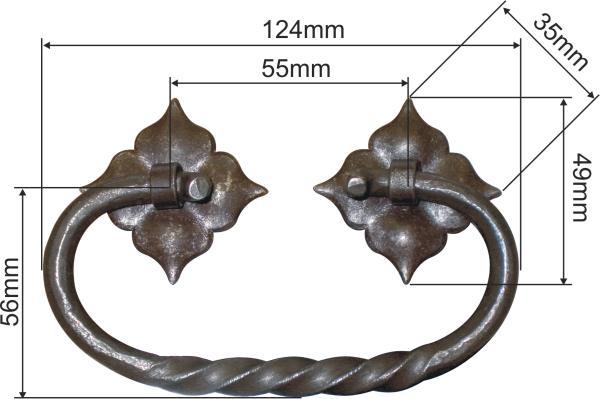 Truhengriff, mittelalterlich, Eisen gerostet und gewachst, Mittelalter Beschläge Bild 3
