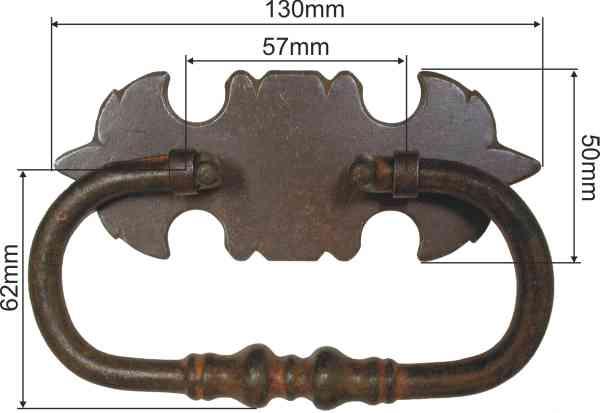 Truhengriff mit Eisenplatte, gerostet und gewachst, Nach wunderschönem alten Modell. Mit Splinten zum innen umbiegen und einschlagen. Bild 3