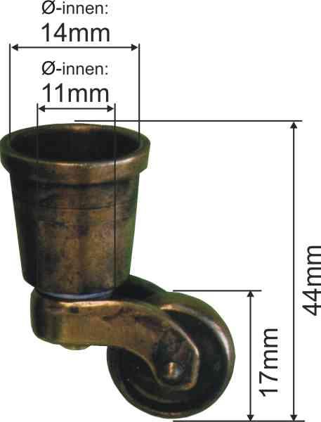 Möbelfußrollen, Möbelrolle antik, Messing patiniert, Innen: 14mm Bild 3