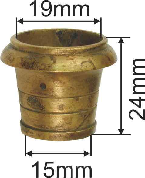 Fußeinfassung rund, Möbelschuh antik, Messing patiniert 19mm Innendurchmesser Bild 3