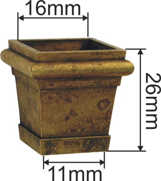 Fußeinfassung Möbelschuh antik, Messing poliert unlackiert, Vierkant innen 17mm. Aus Messing gegossen. Bild 3