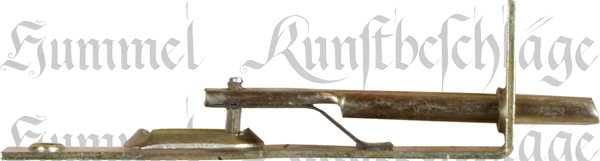 Riegel zum Einlassen, Messingfarben (gelb verzinkt). Aus Blech gestanzt und geprägt. Bild 2