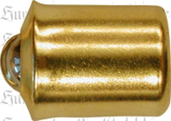 Kugelverschluss Messing roh, Kugelschnapper alt. Aus Blech gestanzt und geprägt.