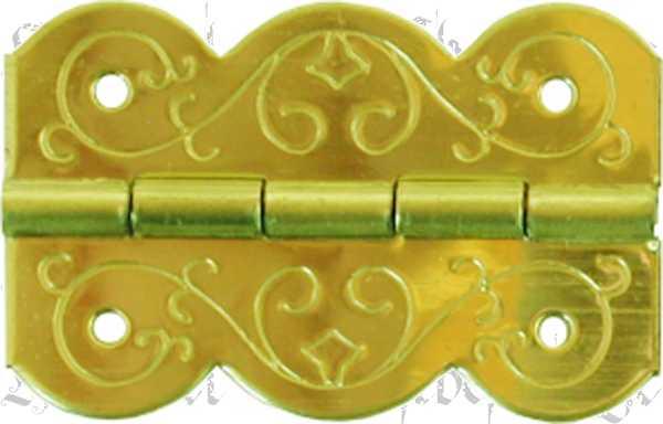 Minischarnier historisch, Schatullenscharnier, hellvermessingt danach farblos lackiert. Aus Blech gestanzt und geprägt.