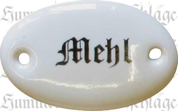 Porzellanschild Mehl, Porzellanschilder antik, alt für Küche, Schublade