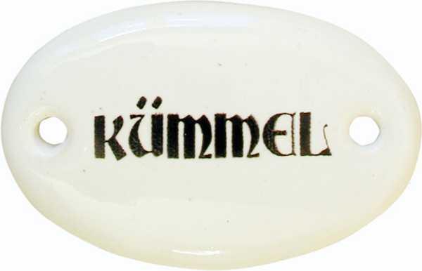 Porzellanschild Kümmel, Porzellanschilder antik, alt für Küche, Schublade