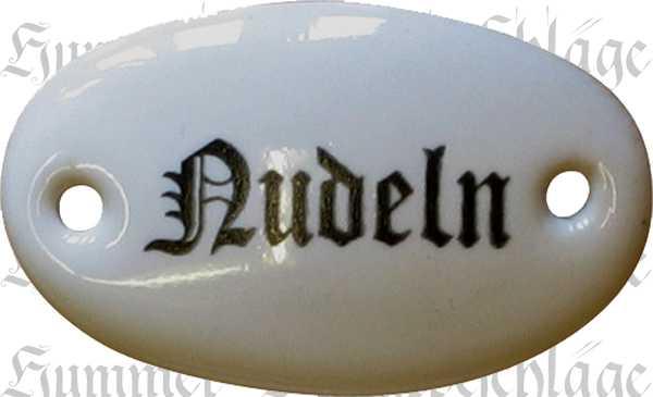 Porzellanschild Nudeln, Porzellanschilder antik, alt für Küche, Schublade