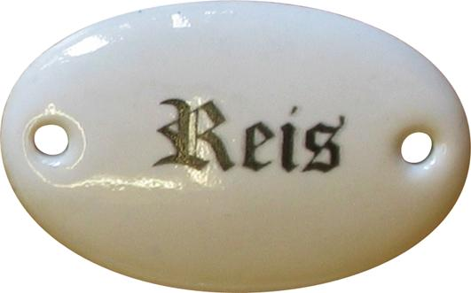 Porzellanschild Reis, Porzellanschilder antik, alt für Küche, Schublade
