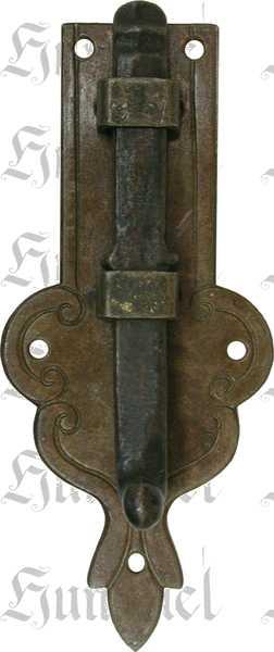 Möbelriegel, Riegel, gerade, Eisen gerostet und gewachst. Aus Blech gestanzt und geprägt. Schieber gegossen.