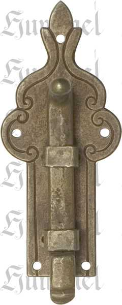 Möbelriegel antik, Riegel, gekröpft 12mm, Eisen gerostet und gewachst. Aus Blech gestanzt und geprägt. Schieber gegossen.