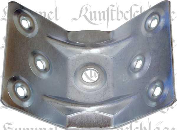 Tischfußverbinder, Eisen verzinkt. Aus Blech gestanzt und geprägt.