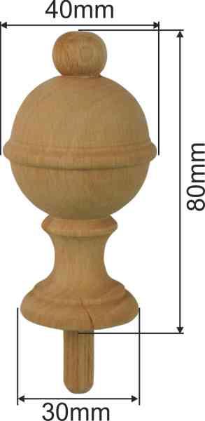 Holzdrehteil, Buche, Holzzierteil antikes gedrechseltes Bild 3