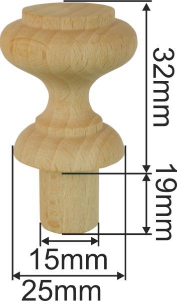 Holzknopf aus Buche gedrechselt, antik, Ø 28,5mm, Nostalgie Bild 3