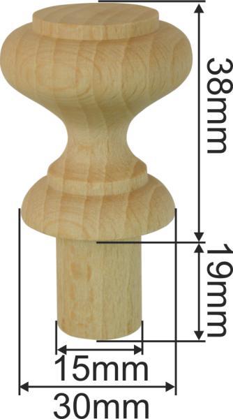 Holzknopf in Fichte gedrechselt, antik, Ø 35mm, für Antiquitäten Bild 3