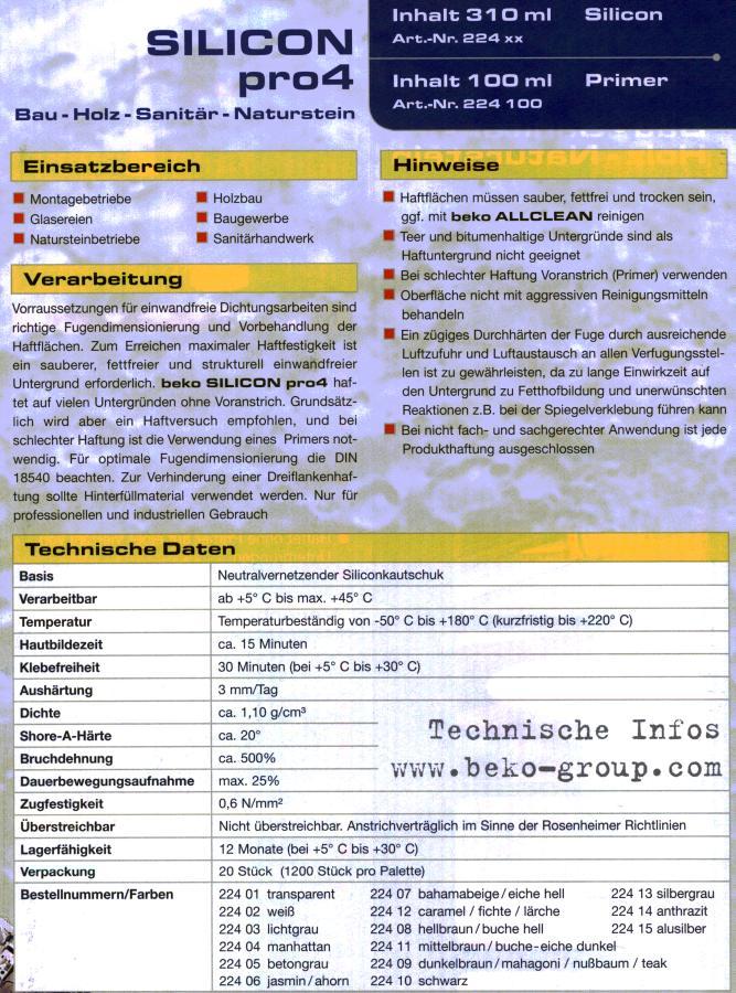 Silicon pro4 Universal 310ml, lichtgrau von Beko, Sonderpreis Bild 3