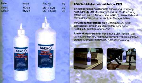 Beko Holzleim D3 ein komponentiger, wasserfester Holzleim für den Innen- und den Außenbereich. Bild 2