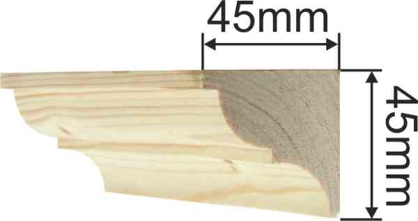 Holzprofilleiste, Holzleiste antik, Holzzierleiste alt, Fichte, aus Fichtenholz, 2,4m, 45x45mm Bild 3