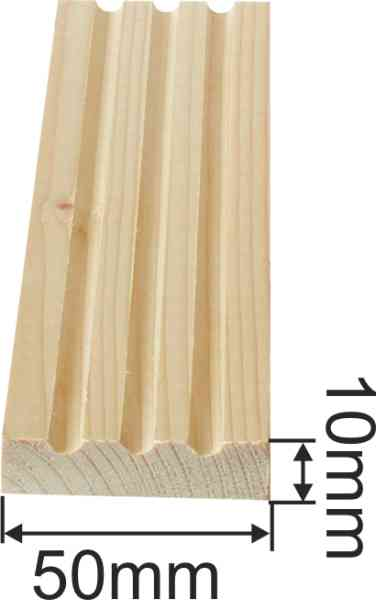 Kannelierte Holzleiste, Holzleiste antik, 2,4m, aus Fichte Bild 3