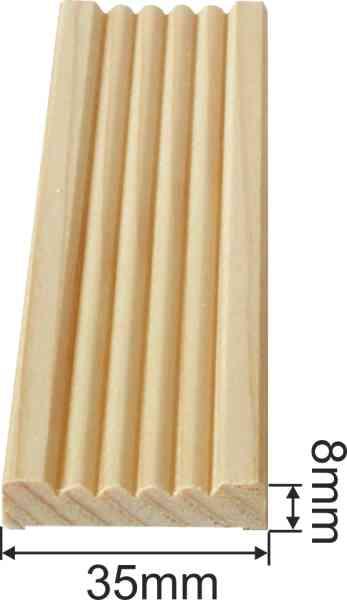 Kannelierte Holzleisten, Holzleiste antik, 1,8m, aus Fichte Bild 3
