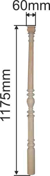 Vertikosäule, Fichte, 3-teilig, Holzsäule gedrechselt, Holzsäulen alt, antik Bild 3