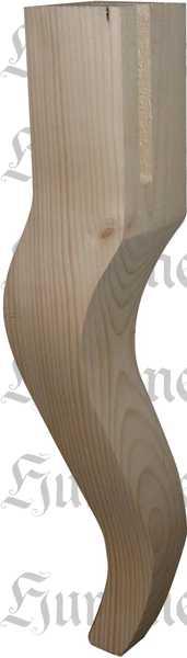 Couchtischfuß antik konisch geschwungen gefräst, Holz Sofafuß aus Fichte, kurz, Massivholz