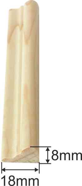 Holzprofilleiste, Holzleiste antik, Fichte, 2,4m, 18x8mm Bild 3