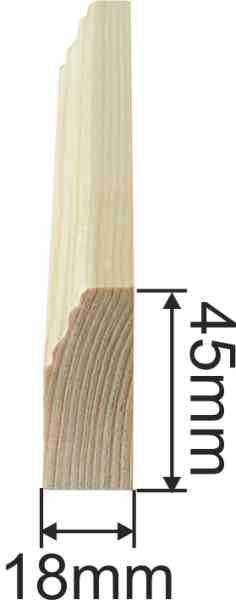 Holzprofilleiste, Holzleiste antik, Fichte, 2,4m, 45x18mm Bild 3