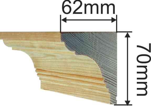 Holzprofilleiste, Holzleiste antik, Fichte, 2,4m, 70x62mm Bild 3