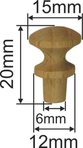 Holzknopf, Buche, Ø 13,5mm, kleiner Möbelknopf aus Holz Bild 3