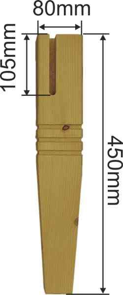 Tischfuß antik konisch gefräst, Tischbeine für Couchtisch aus Fichten Holz, kurz, Massivholz Bild 3