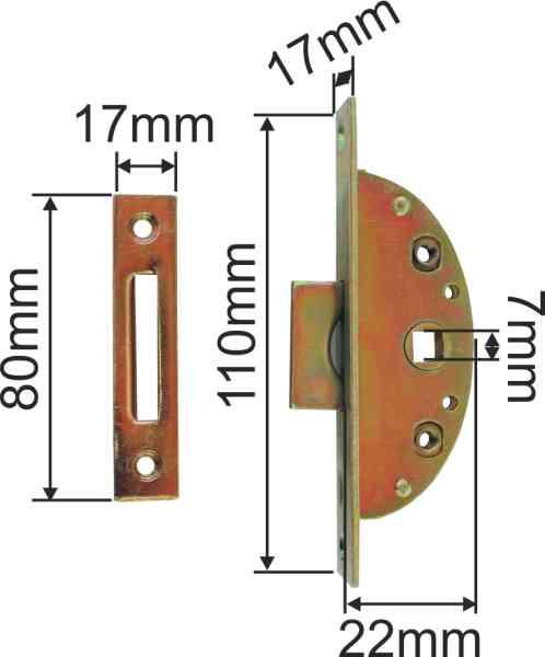 Einsteckeinreiber mit Zunge u. Zubehör, Eisen verzinkt, Dornmaß 13mm, Vierkant 7mm. Bild 3