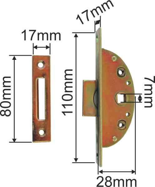 Einsteckeinreiber antik mit Zunge und Zubehör, Eisen verzinkt, Dornmaß 17mm Bild 3
