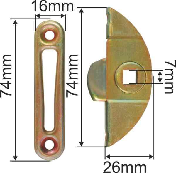 Einsteckeinreiber mit Schliesszunge und Zubehör, Eisen verzinkt, Dornmaß 13mm Bild 3